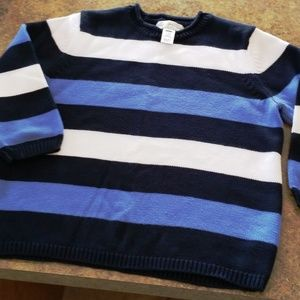 SWEATER Med EVAN PICONE Blues & White ¾ sleeve NEW